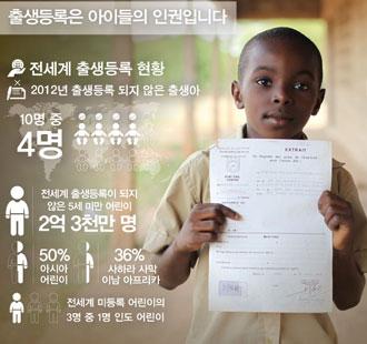 [유니세프] 전 세계 2억3천만 명 어린이 서류상 존재 안해