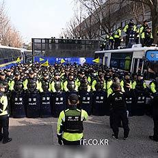 靑 100m 앞 집회, 분주한 경찰
