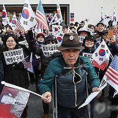 보수집회, 박정희 깃발과 성조기