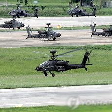 UFG 연습 시작하는 아파치 헬기