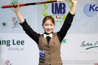 女3쿠션 '18세' 한지은, 클롬펜하우어 꺾고 버호벤오픈 우승