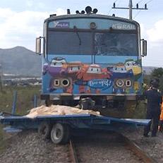경주 동해선 열차-트레일러 충돌