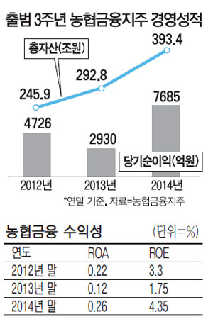 농협금융 출범 3년만에 3大그룹 '우뚝'