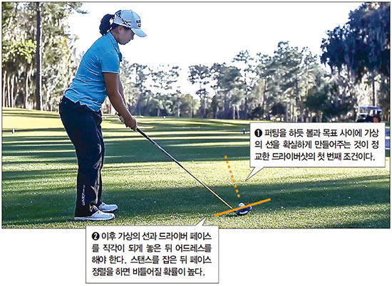 [톱골퍼 비밀노트] (92) 김세영의 정확한 드라이버샷…드라이버샷 목표, 퍼팅처럼 '가상 선' 그어라
