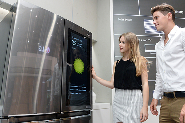 LG's Smart Instaview fridge featuring Windows 10 tablet unveiled at IFA, Berlin, in September, 2016. [Photo by: LG Electronics Inc.]