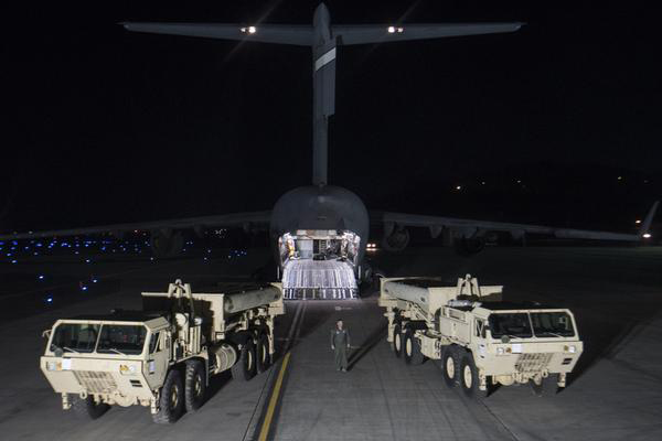 Parts of THAAD arrive in South Korea. [This photo released by U.S. Forces Korea on Tuesday shows two interceptor-missile launchers and other THAAD elements arrived Monday night at Osan Air Base in South Korea, transported by U.S. C-17 transport plane from Fort Bliss, Texas.]
