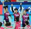 이재영-김수지 `챔프전 승리의 기쁨` [MK포토]
