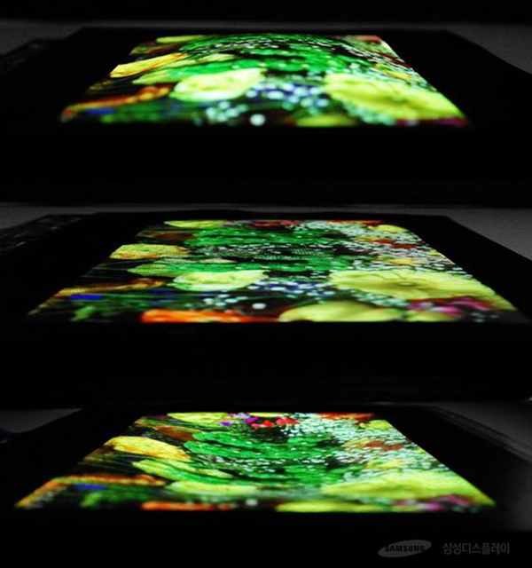 An image of Samsung Display Co.'s 9.1-inch stretchable OLED panel that will be unveiled at the Society for Information Display conference from May 23 to 25 at the Los Angeles Convention Center. [Photo by Samsung Display Co.] <br><br>