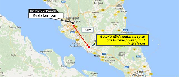 The location of combined cycle gas turbine to be built in Malacca [Photo by: Hyundai Engineering Co.]