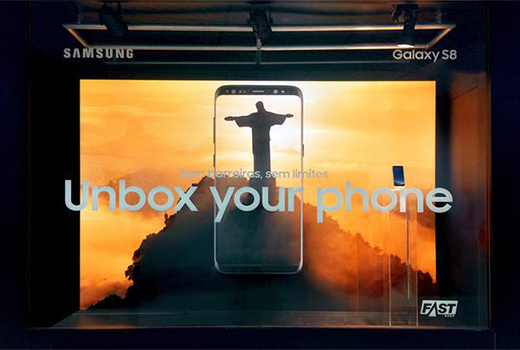 Samsung Electronics`s Galaxy S8 shop window ad