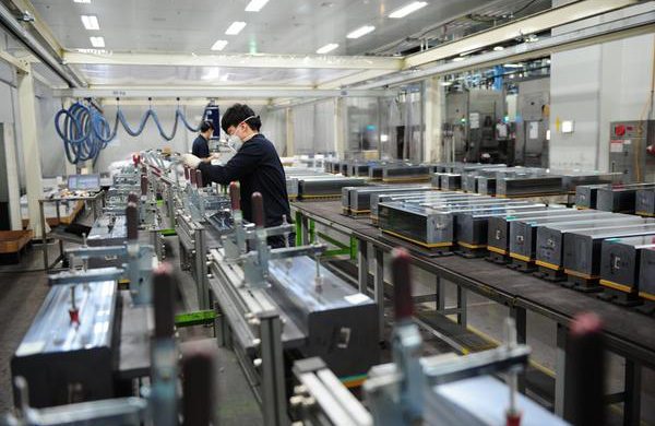Employees are working at Woongjin Energy's wafer factory in Gumi, North Gyeongsang Province.