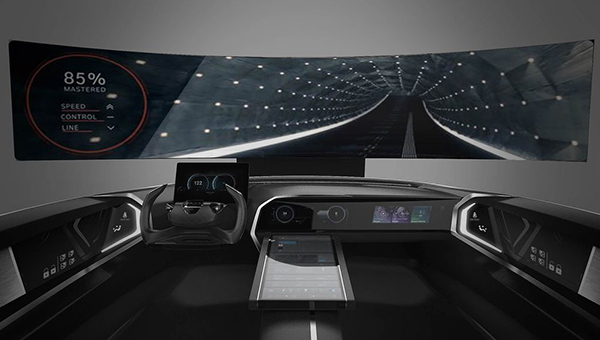 A rendering of connected car cockpit loaded with voice recognition assistant service that will be unveiled by Hyundai Motor at Consumer Electronics Show 2018 in January, next year.[Photo provided by Hyundai Motor]