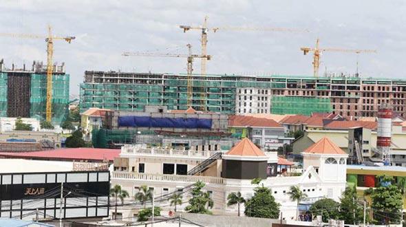 Construction projects on Phnom Penh`s Diamond Island.