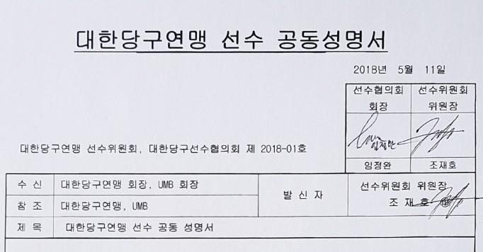 """선수위-선수협 공동성명 """"KBF-UMB 합의하라""""강력촉구"""