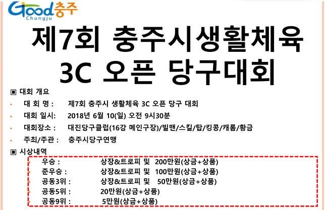 '선수‧동호인' 3쿠션오픈대회 충주에서 열린다
