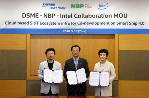 DSME signed a memorandum of understanding with Intel Corp. and Naver Business Platform Corp. on the joint development of smart ship service infrastructure. From left: Eom Hyang-seop, executive director at DSME; Park Won-ki, chief executive of NBP; and Kwon Myung-sook, president of Intel Korea. [Photo provided by DSME] <br><br>