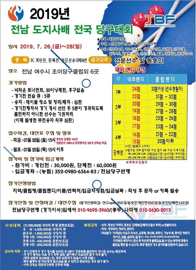 여수에서 전남 도지사배 전국 3쿠션 오픈대회