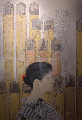 설국관에 전시되어 있는 코마코의 모습을 그린 작품.
