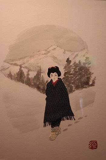 설국관에 전시된 코마코를 모델로 만든 작품.