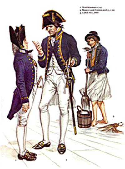 18세기 대영제국 해군 복장. 맨 우측이 슬롭을 입은 일반 선원 /출처=위키피디아