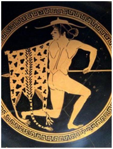 고대 그리스인들이 쓰던 페타소스(Petasos). 햇빛을 가리는 것이 주목적이었다. 베레모의 기원을 페타소스에서 찾기도 한다.