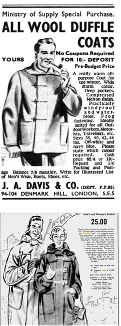 가장 클래식한 더플 코트의 형태. 1947년의 광고 중에서 /출처=핀터레스트