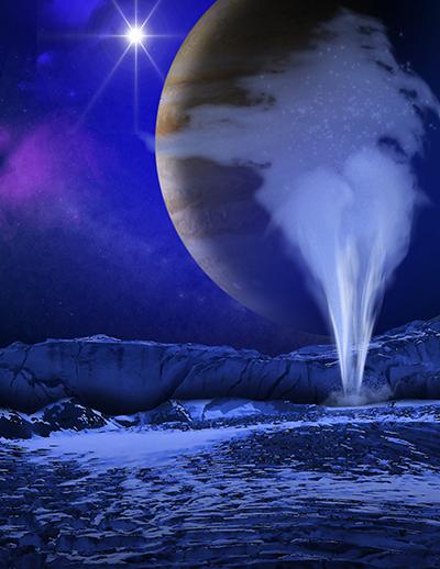 유로파의 지하수 분출 상상도 /사진=NASA