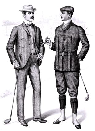 1901년 패션 잡지에 실린 골프 복장 삽화. 왼쪽은 격식을 차린 일종의 정복장이고 오른쪽은 활동성을 중시한 래글런식의 복장이다./출처=위키피디아
