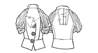 """풍성한 주름과 레이스가 가미된 레글런 블라우스(1920년대) /출처=위키피디아, """"raglan sleeve"""""""