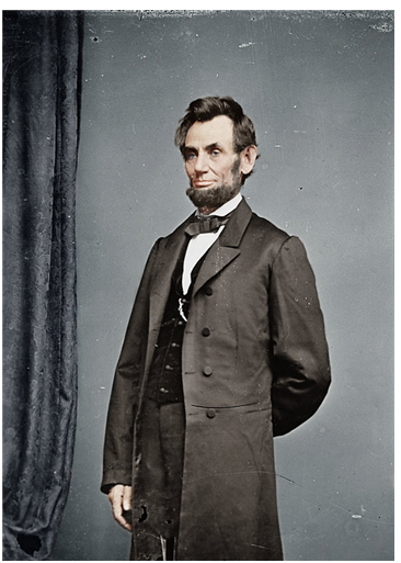 링컨 대통령 흑백사진에 컬러를 덧입혔다. /출처=미국 국립문서기록관리청