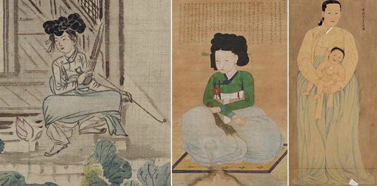 (왼쪽부터) 신윤복 작 연당의 여인, 계월향, 채용신 작 운낭자