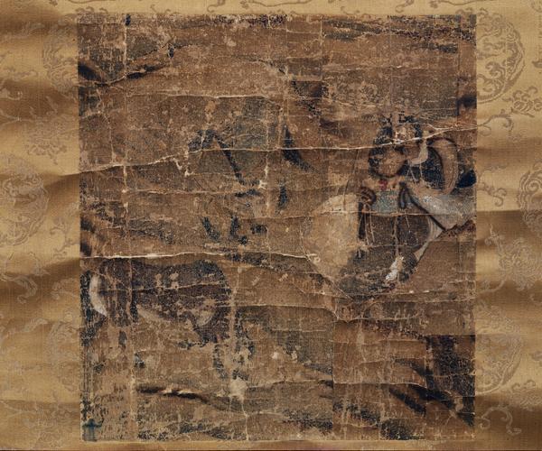 """성현이 화가로서의 수준을 높게 평가한 고려 공민왕의 대표작 """"천산대렵도"""". 사냥장면을 묘사하고 있다. 전체 그림의 일부로 보이며 훼손이 극심하다. 국립중앙박물관 소장."""