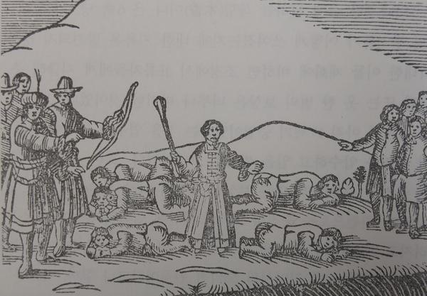 하멜표류기 초판 목판화 8장 중 하나로 네덜란드 선원들이 어선을 훔쳐 달아나려고 시도하다가 붙잡혀 곤장을 맞고 있는 장면을 묘사하고 있다.