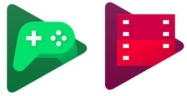 구글 안드로이드 OS의 Play 게임(왼쪽) 아이콘과 Play 무비 아이콘. 둘 모두 ▶ 도형을 바탕으로 만들어져 있다.