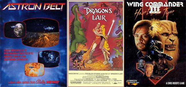 """풀모션비디오(FMV)를 활용한 대표적인 게임 타이틀. 왼쪽부터 """"아스트론 벨트"""", """"드래곤즈 레어"""", """"윙커맨더 3  호랑이의 심장""""."""