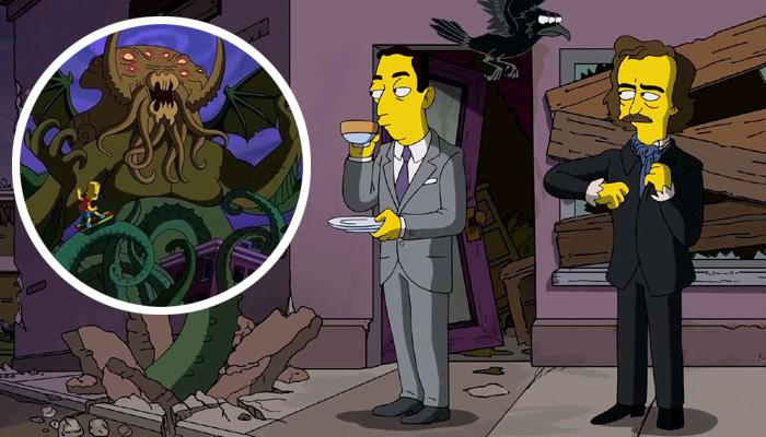 """심슨의 할로윈 에피소드에 등장한 """"공포문학의 거장""""러브크래프트(왼쪽)와 에드거 앨런 포(오른쪽), 크툴루(원안)도 등장합니다."""
