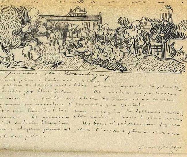 고흐가 테오에게 보낸 편지. 고흐는 도비니의 저택을 함께 스케치했다.