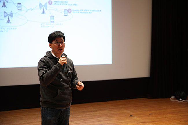 8일 서울대에서 열린 비더로켓 런칭데이에서 금상을 받은 엘핀 박영경 대표가 발표를 하고 있다. /사진=서울대 기술지주회사
