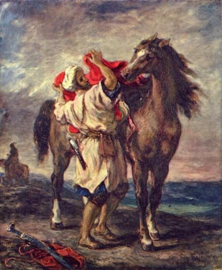"""에르미타주에 전시된 """"말 안장을 잡고 있는 모로코인 (들라크루아)""""."""