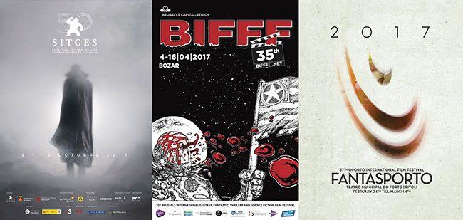 세계 3대 판타스틱 영화제의 2017년 공식 포스터. 왼쪽부터 시체스 영화제, 브뤼셀 국제판타스틱 영화제, 판타스포르토 국제 영화제.
