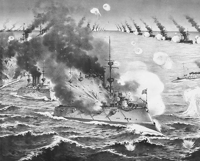 뤼순 전투에서 공격당하는 러시아 전함을 보여 주는 일본의 현대 삽화 .