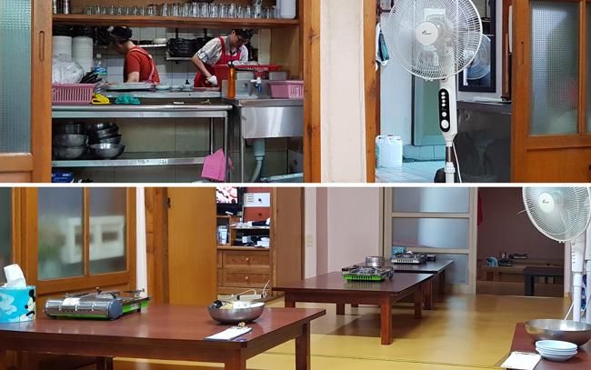 주방의 상황이 한눈에 보인다(위). 테이블 간의 간격은 넓은 편이다. 미닫이 문 너머로 좌석이 많이 보인다(아래).