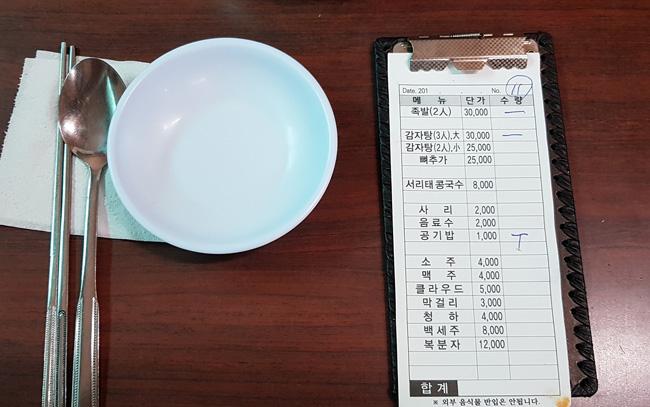 단촐한 메뉴판. 테이블과 식기의 상태는 매우 양호하다.