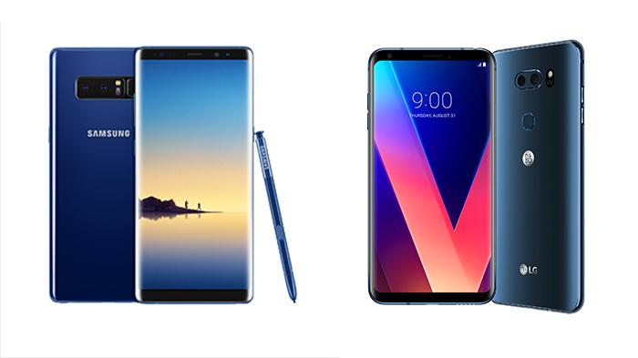 삼성전자 갤럭시노트8(왼쪽)과 LG V30(오른쪽) /사진=삼성전자, LG전자