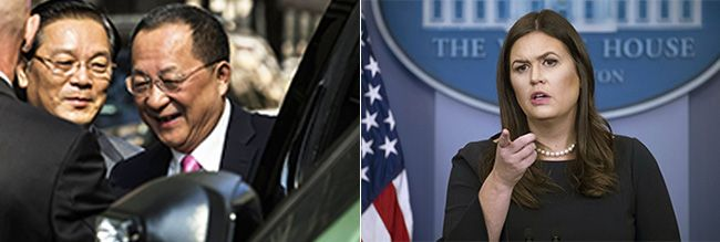 """리용호 북한 외무상이 25일(현지시간) 미국 뉴욕 유엔본부 앞 밀레니엄 힐튼 유엔플라자에서 기자회견을 열고 """"미국이 북한에 선전포고를 했으며 자위권으로 대응할 것""""이라고 말한 뒤 귀국하기 위해 차량에 오르고 있다.(왼쪽) 세라 허커비 샌더스 미국 백악관 대변인은 25일(현지시간) 워싱턴DC 백악관에서 기자회견을 열고 """"우리는 북한에 선전포고한 바 없다""""며 리용호 외무상의 주장을 반박했다. /사진=AP연합뉴스, EPA연합뉴스"""