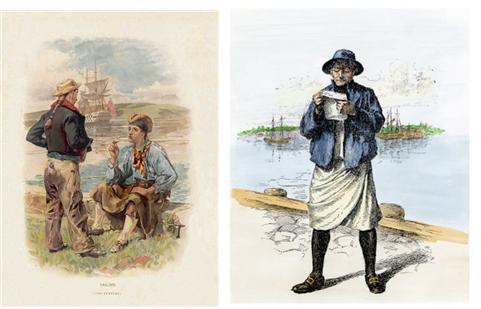 슬롭을 입은 영국 선원(18세기, 좌), 미국 선원(19세기, 우)의 모습