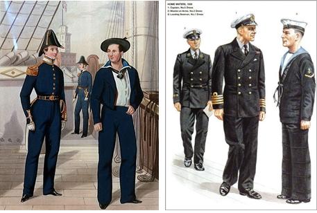 1800년대 후반의 영국 병사(좌), 1939년의 해군 병사(우)가 입은 넘버-원. 장교와 달리 블루-진 컬러와 벨-바텀을 착용한 것을 알 수 있다. 출처=위키피디아