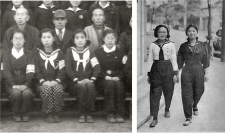 상의는 세일러복, 하의는 몸뻬를 입은 1940년대의 일본 여학생들 /출처=야후재팬
