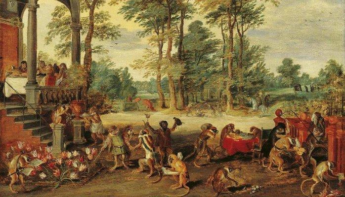 튤립 버블을 풍자한 얀 브뤼겔의 작품.