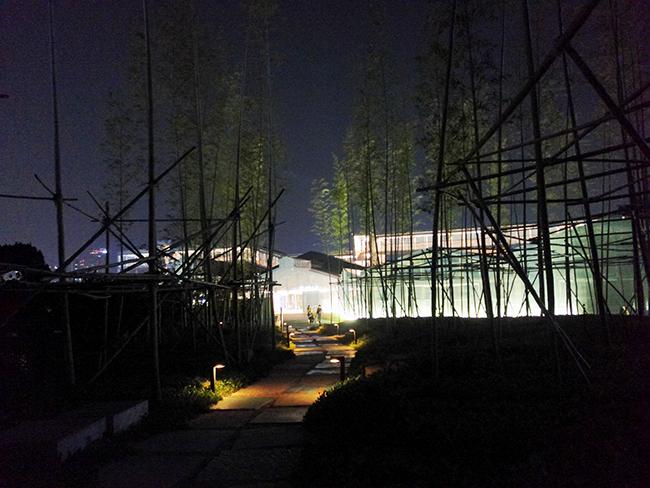 복합문화공간 F1963의 대나무숲. 공장에서 생산하던 와이어와 유사성에서 죽림 조성을 착안했다고 한다.